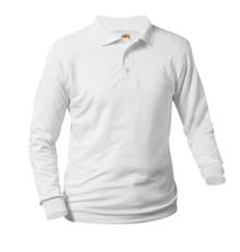 Jersey Knit Long Sleeve Polo Shirt - White