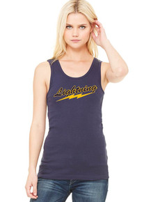 Navy Bella + Canvas Ladies' Baby Rib Tank - Lightning  Baseball
