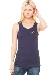 Navy Ladies Bella + Canvas Baby Rib Tank - Lightning  Baseball