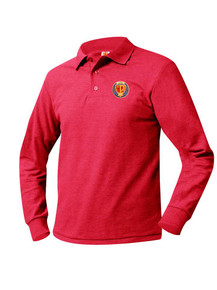 Pique Knit Long Sleeve Polo Shirt - St. Pius