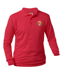 Jersey Knit Long Sleeve Polo Shirt - St. Pius