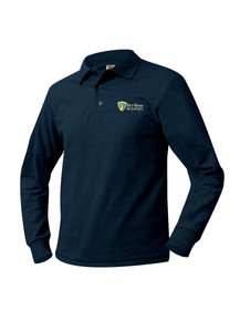 Pique Knit Long Sleeve Polo Shirt - SkyView