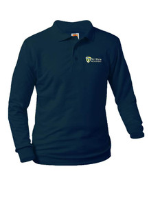 Jersey Knit Long Sleeve Polo Shirt - SkyView