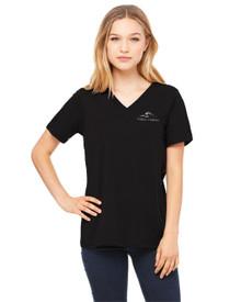 Ladies Bella V-Neck T-Shirt w/Three Creeks embroidery