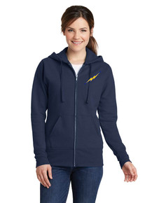 Ladies Fleece Full Zip Sweatshirt with Lightning Baseball Logo