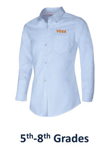 Girls Long Sleeve Oxford - Vega Embroidery