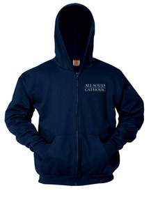 Navy Full Zip Hooded Fleece Sweatshirt - All Souls
