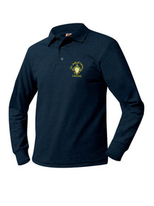 Pique Knit Long Sleeve Polo Shirt - Our Lady of Lourdes