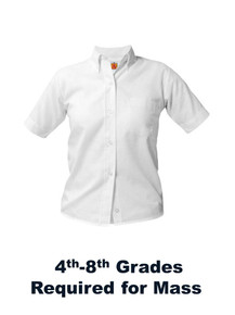 Girls White Short Sleeve Oxford Blouse - Our Lady of Lourdes