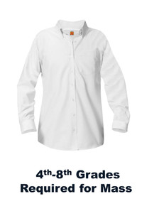 Girls White Long Sleeve Oxford Blouse - Our Lady of Lourdes