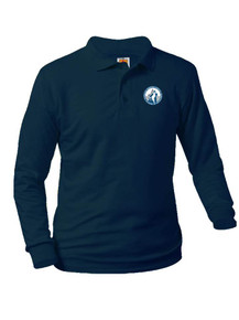 Jersey Knit Long Sleeve Polo Shirt - Pinnacle