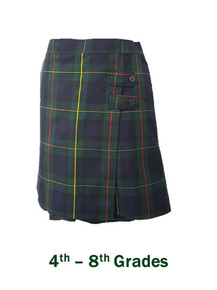 Girls Skort with 2 Button Tabs in Plaid 83 - St. Joseph