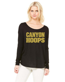 Ladies Bella+Canvas Flowy Dolman Long Sleeve with Shiny Metallic Gold - RC Basketball