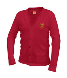 Red Unisex V-Neck Cardigan Sweater - St. Thomas More