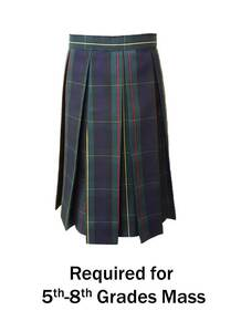 Girls Skirt wtih Box Pleat in Plaid 83 - St. Thomas More