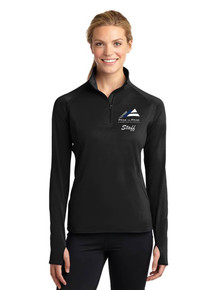 Women's Long Sleeve Smooth Texture 1/4 Zip - w/Peak To Peak Staff Embroidery
