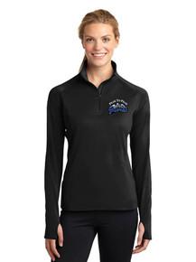 Female Long Sleeve Smooth Texture 1/4 Zip - w/Peak To Peak Embroidery