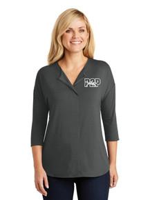 Female 3/4 Sleeve Soft Split Neck Top - w/Peak to Peak Embroidery