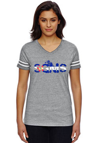 CO  Ladies Gray/White Fine Jersey T-Shirt - Sagewood