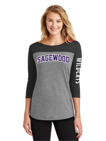 Ladies Gray/Black 3/4 Sleeve Rally Tee - Sagewood