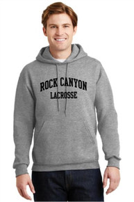 Hooded Gray Sweatshirt w/arched screen print on front - RC Girls Lacrosse