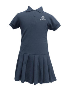 Girls Navy Short Sleeve Polo Dress -MHA