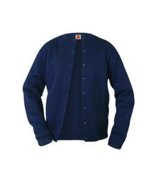 Girls Fine Gauge Crewneck Cardigan Sweater - Navy