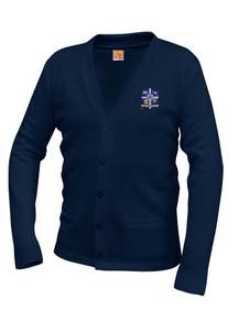 GIRLS Grades 7-12th -  Navy V-Neck Cardigan Sweater