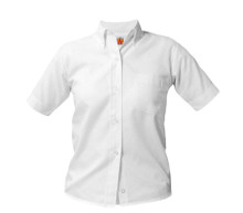 Girls White Short Sleeve Oxford Blouse - White or Blue