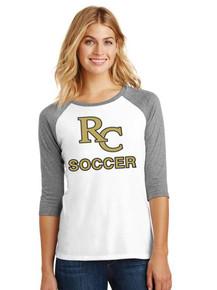 Ladies 3/4 Sleeve Raglan w/RC Soccer Heat Press