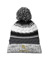 Beanie - Pom Pom in Black with embroidered RC Softball