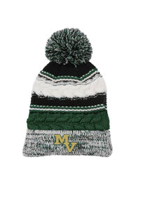 Beanie - Pom Pom in Green w/embroidered MV