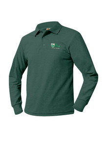 Pique Knit Long Sleeve Polo Shirt with St. Peter Logo