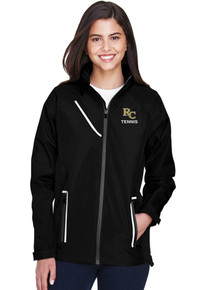 Black Women's Team 365 Waterproof Jacket with embroidered RC Tennis