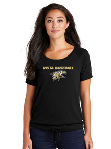 Ladies Black Tri-Blend Cinch Tee - Mtn. Vista Baseball