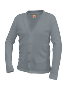 V-Neck Cardigan Sweater - Gray