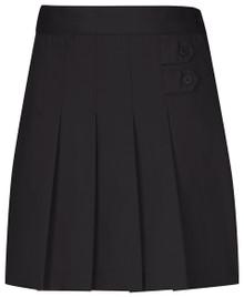 Girls Skort - Two Tab w/Pleats - Black + Khaki