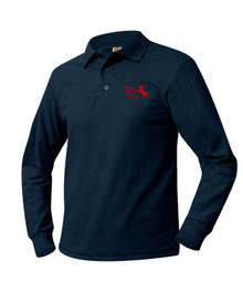 Pique Knit Long Sleeve Polo Shirt - MPB