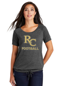 *New Ladies Black Tri-Blend Cinch Tee - RC Football