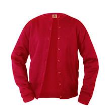 Female Fine Gauge Crewneck Cardigan Sweater -Caprock