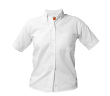 High School Girls White Short Sleeve Oxford Blouse - CRA