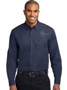 Navy Men's Port Authority Long Sleeve Easy Care Polo - CRA