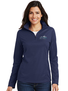 Ladies Navy Pinpoint Mesh 1/2-Zip - New Summit