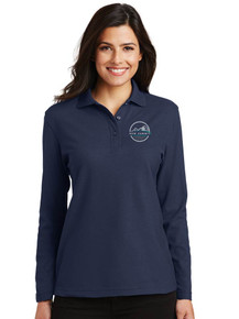 Ladies Navy Silk Touch Long Sleeve Polo - New Summit