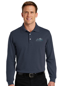Men's Navy Rapid Dry Long Sleeve Polo - New Summit
