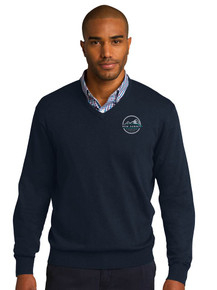 Men's Navy V-Neck  Pullover Sweater - New Summit