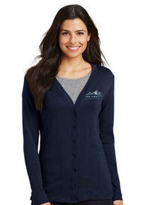 Ladies Navy Modern Stretch Cotton Cardigan - New Summit