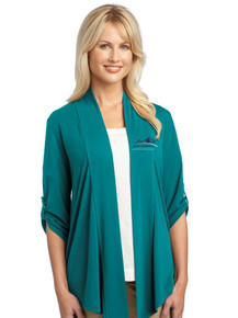 Ladies's Teal Long Sleeve Concept Shrug - New Summit