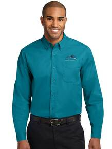 Men's Teal Port Authority Long Sleeve Easy Care Polo - New Summit