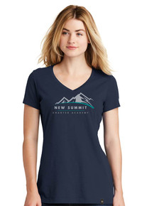 Women's Navy Short Sleeve VNeck Heritage Blend Tee - New Summit